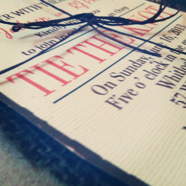 Coral + Brown Tie the Knot Wedding Invitations © lovely print and design