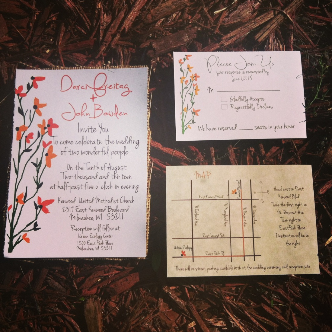 Rustic Floral invitations