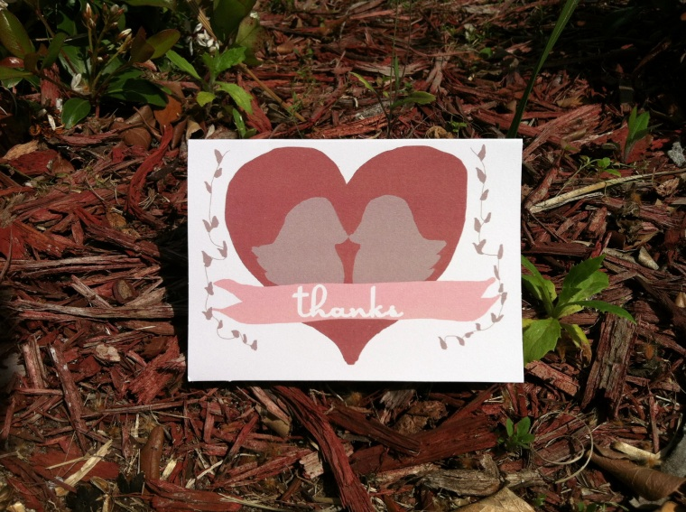 Lovebird wedding thank you cards