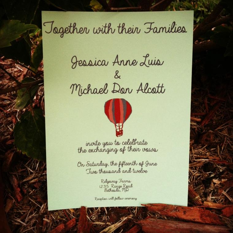 Tandem Bike Wedding Thank you Cards, Hot air balloon wedding invitations