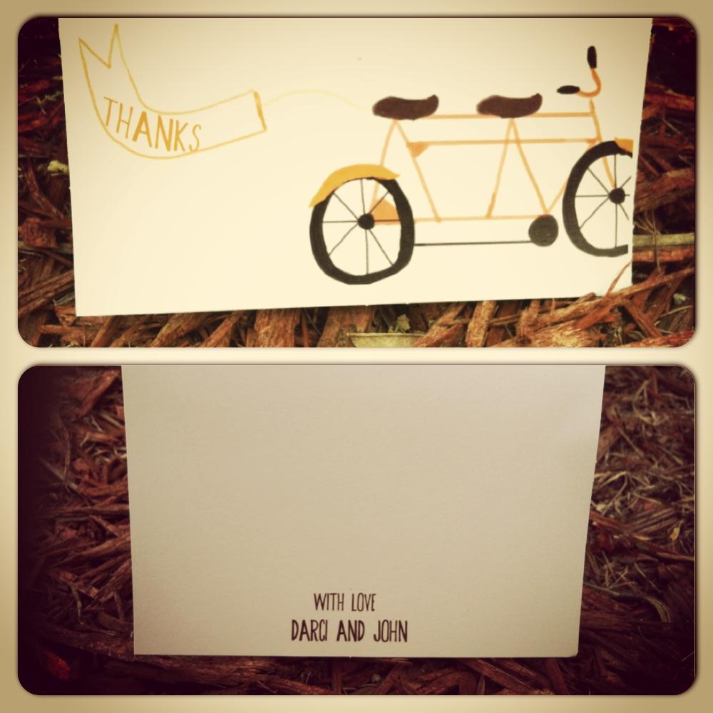 Tandem Bike wedding thank you cards