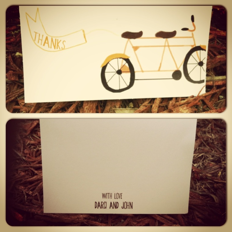 Tandem Bike wedding thank you cards