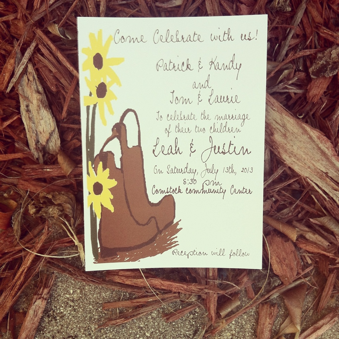 Cowboy boots, with sunflower wedding invitations
