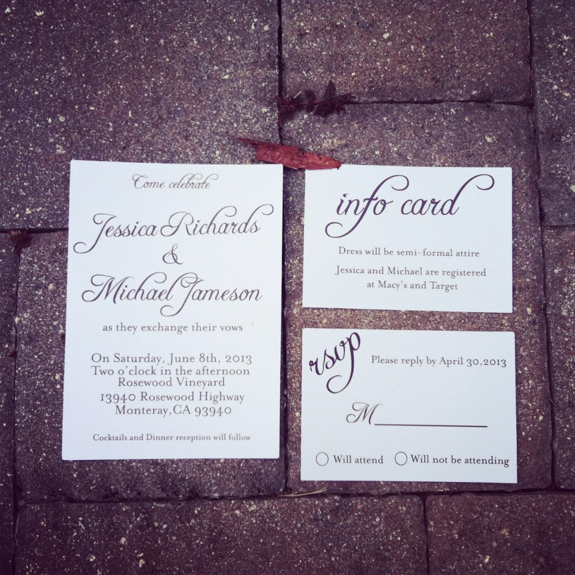 Big Script wedding invitation comes with info or direction cards and rsvp cards