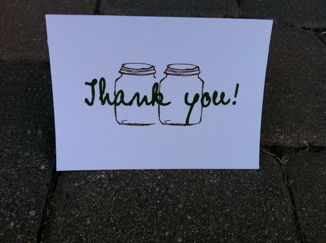 Mason Jar Thank you cards