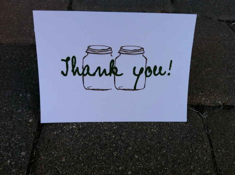 Mason Jar Thank you cards