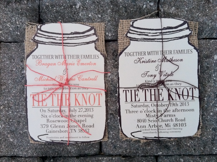 Rustic Mason Jar with Natural Burlap Wedding Invitations