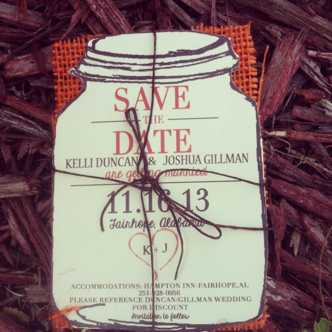 Upon Request Orange burlap save the dates