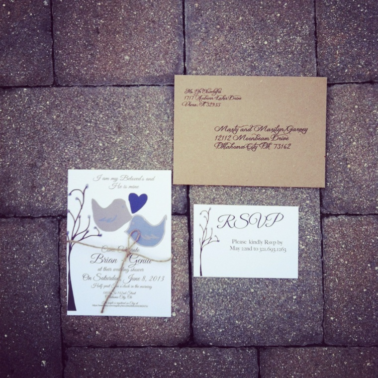""" I am my Beloved's"" Wedding Shower invites come with return addressed envelopes and rsvps."