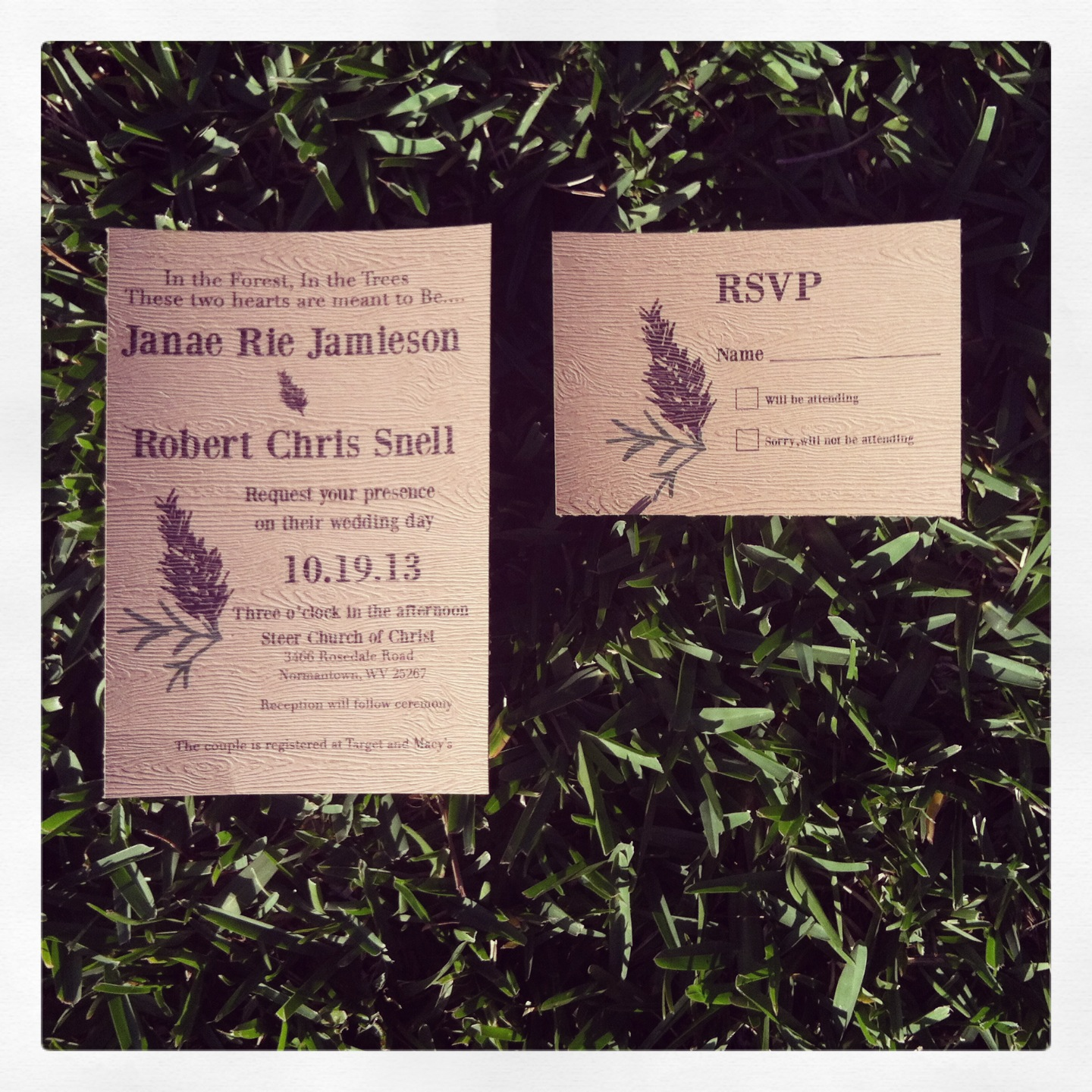 Pines and Needles Wedding Invitation