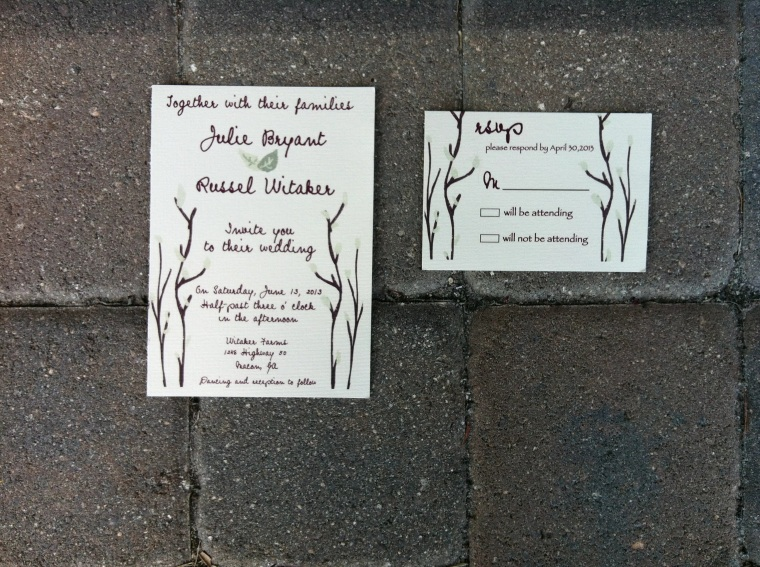 Rustic Branches and Mint Leaves Wedding Invitation