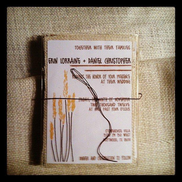 Rustic Wheat wedding invitation with burlap