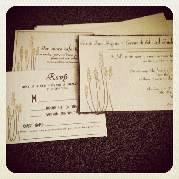 Eggplant color Wheat Rustic Invitations with dark brown burlap