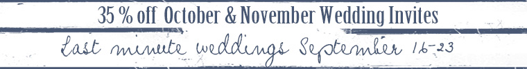 Last Day for sale 35% off last minute October and November Weddings