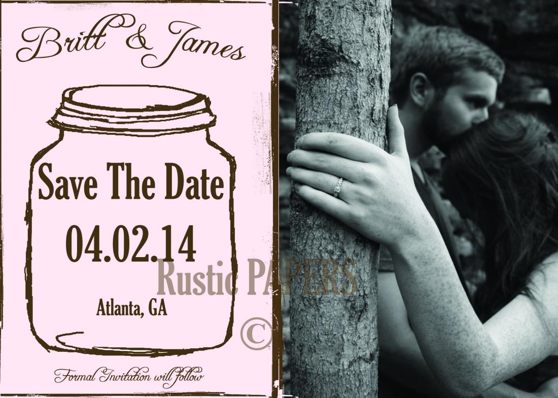 Dusty Pink Mason Jar Save the Date