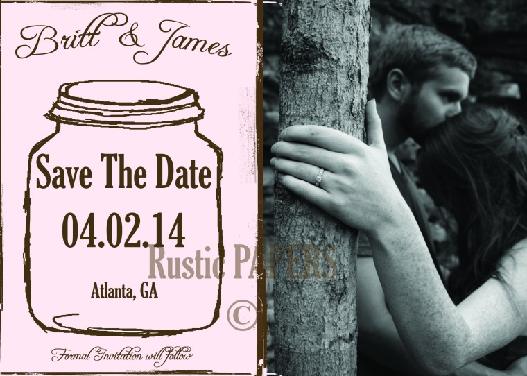 Dusty Pink Mason Jar Save the Date