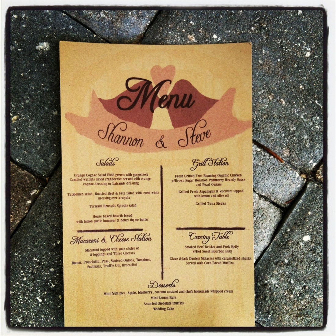 Rustic Lovebirds Wedding Menu on Kraft Recycled Paper