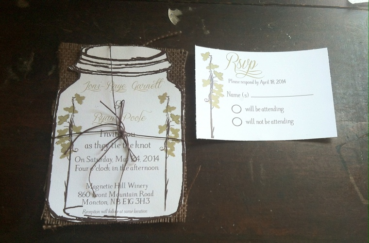 Winery Burlap Mason Jar Invite