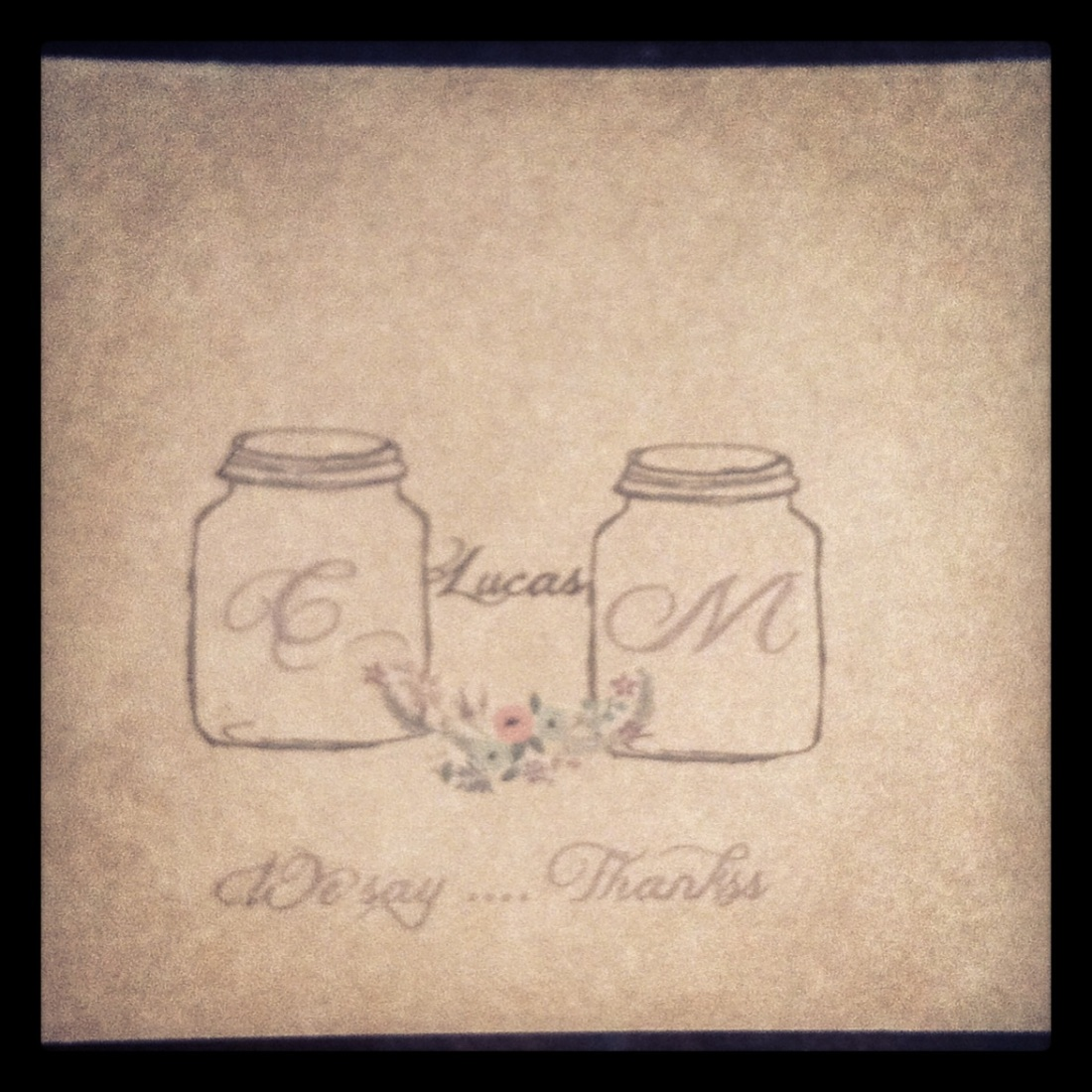 Personalized wedding mason jar thank you cards on Kraft paper