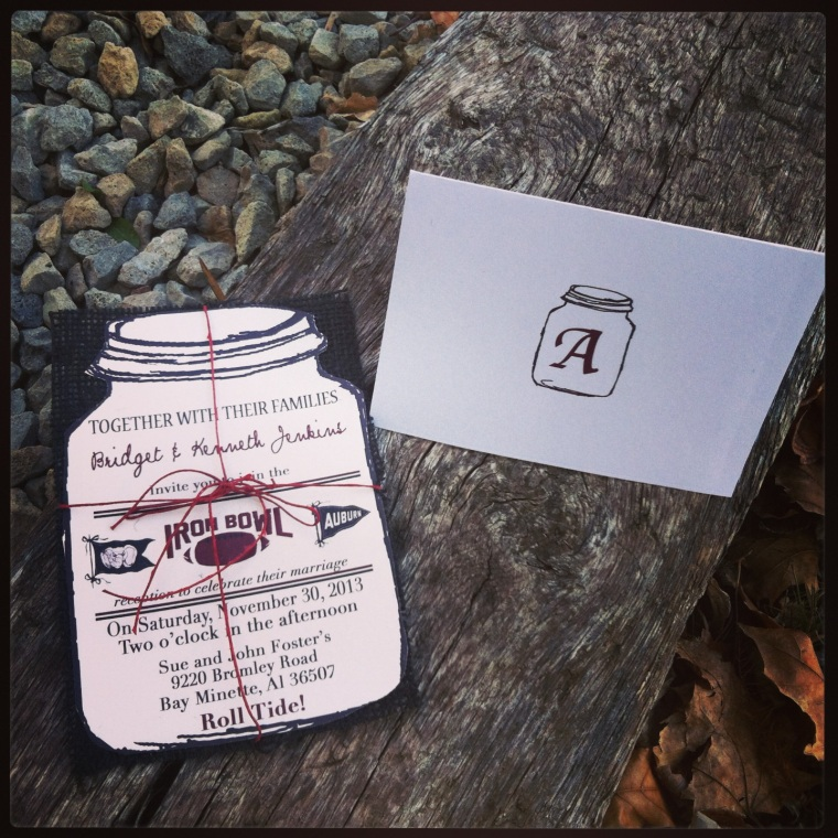 Roll Tide! Wedding Reception Invites with thank you cards