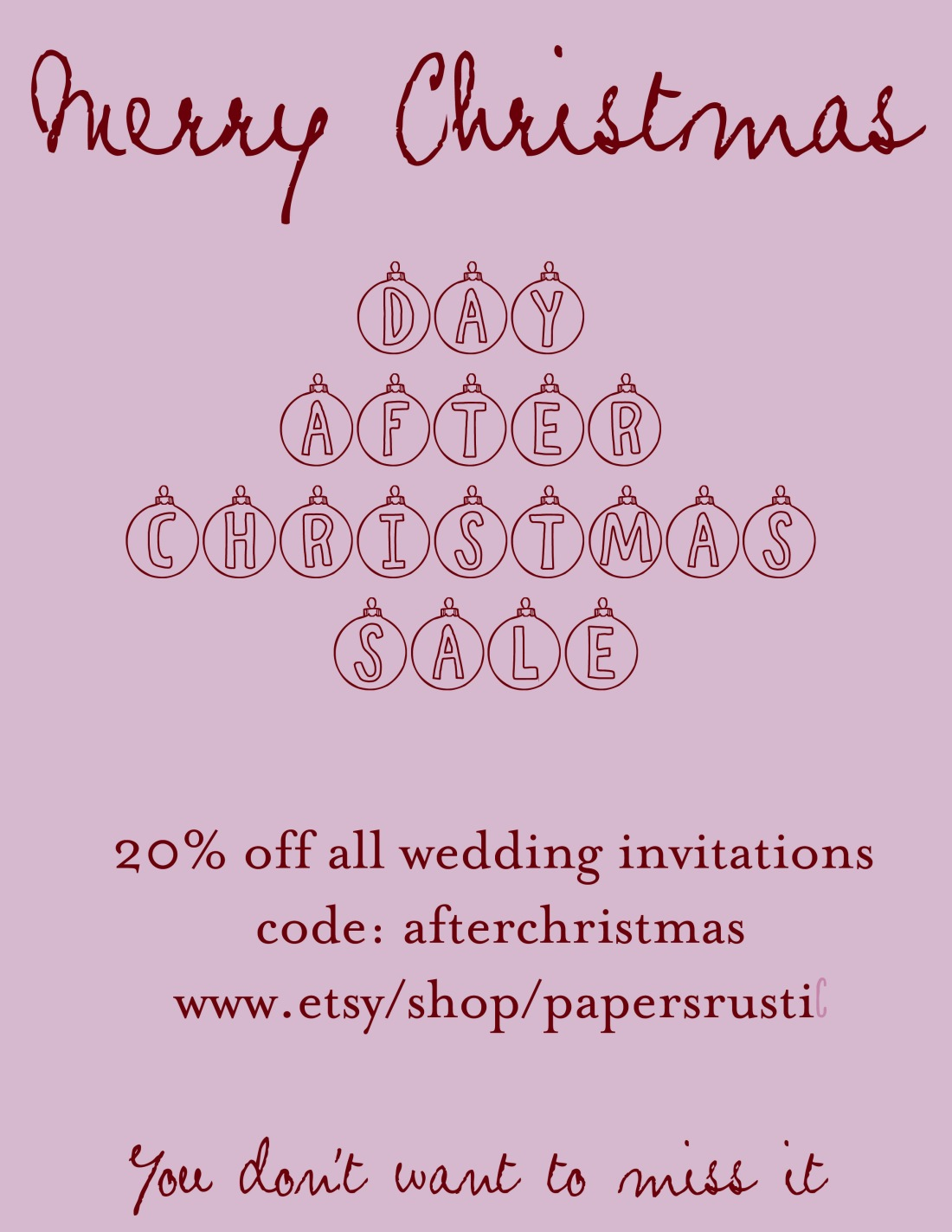 Day After Christmas Sale 20% off all wedding invites!!!