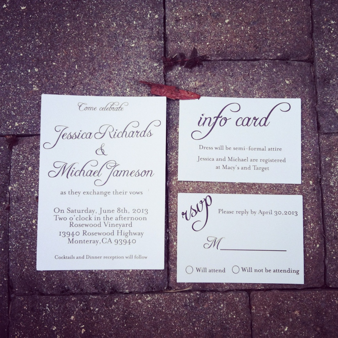 Simple Script black and white wedding invite
