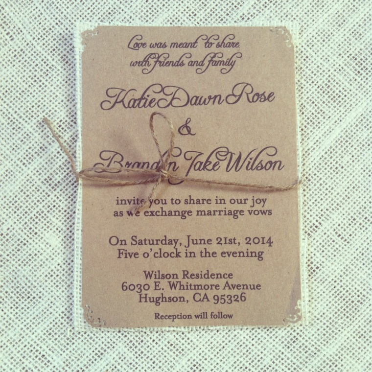 Rustic Clean Kraft Wedding Invitations with Jute twine on ivory burlap