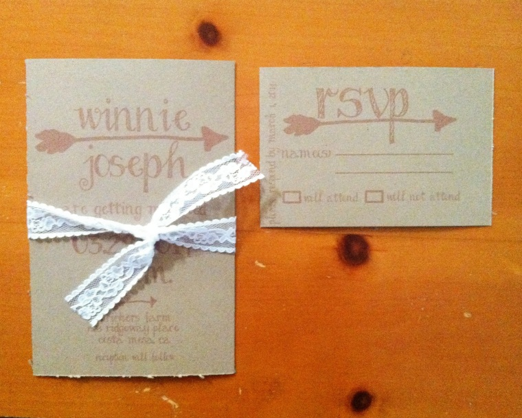 Kraft Arrow Wedding invitation with Lace