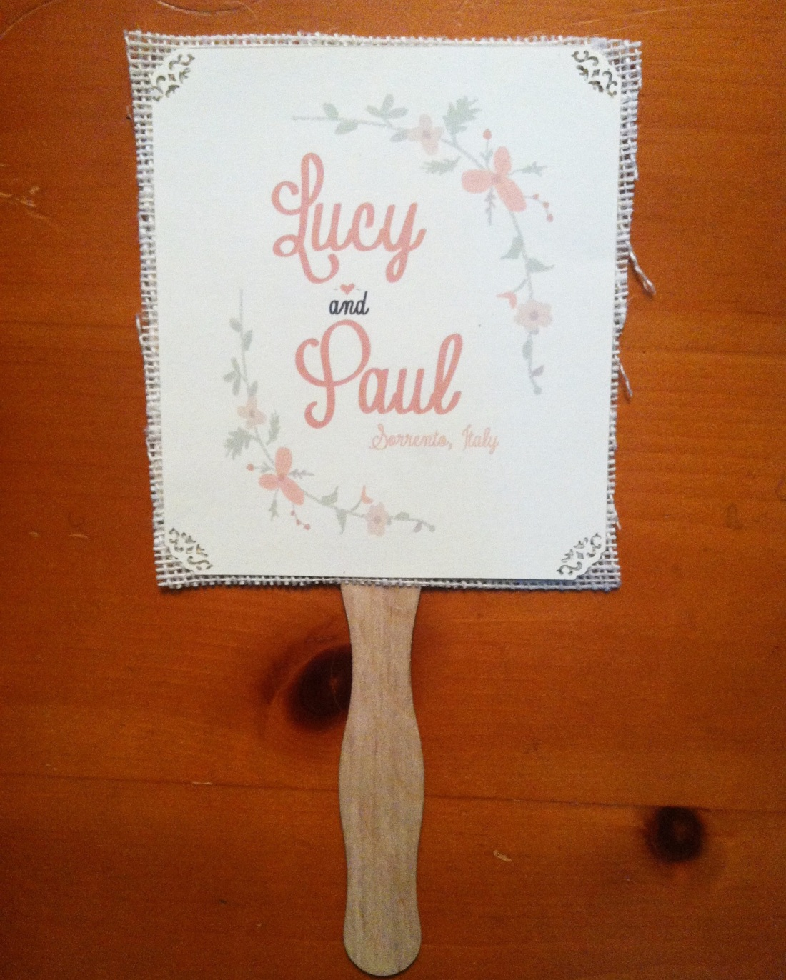 Hand drawn Wedding Fan floral with ivory burlap