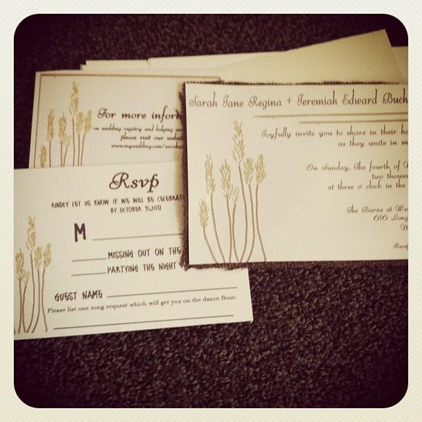 Beautiful Rustic Wheat Wedding Invitations in Dark brown burlap