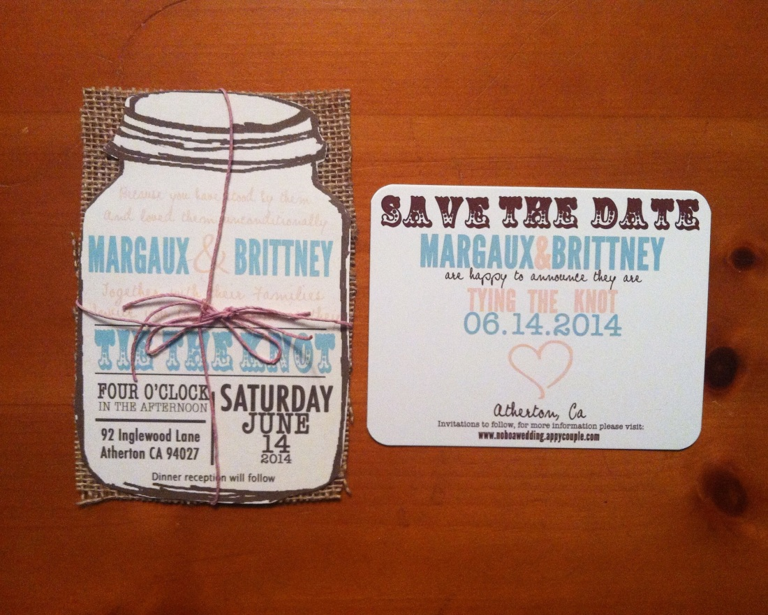 Mason Jar with Burlap Wedding Invitation Typography with Save the Date Postcards Package 50 invites/ 50 save the dates