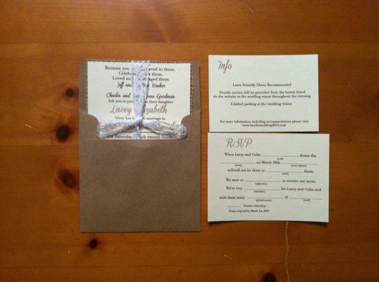 Square wedding invite with lace & burlap