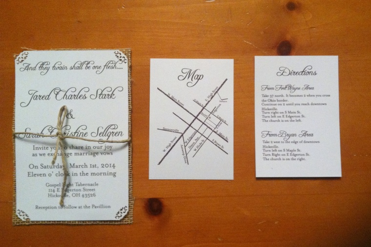 Beautiful Hand drawn invitations with jute twine