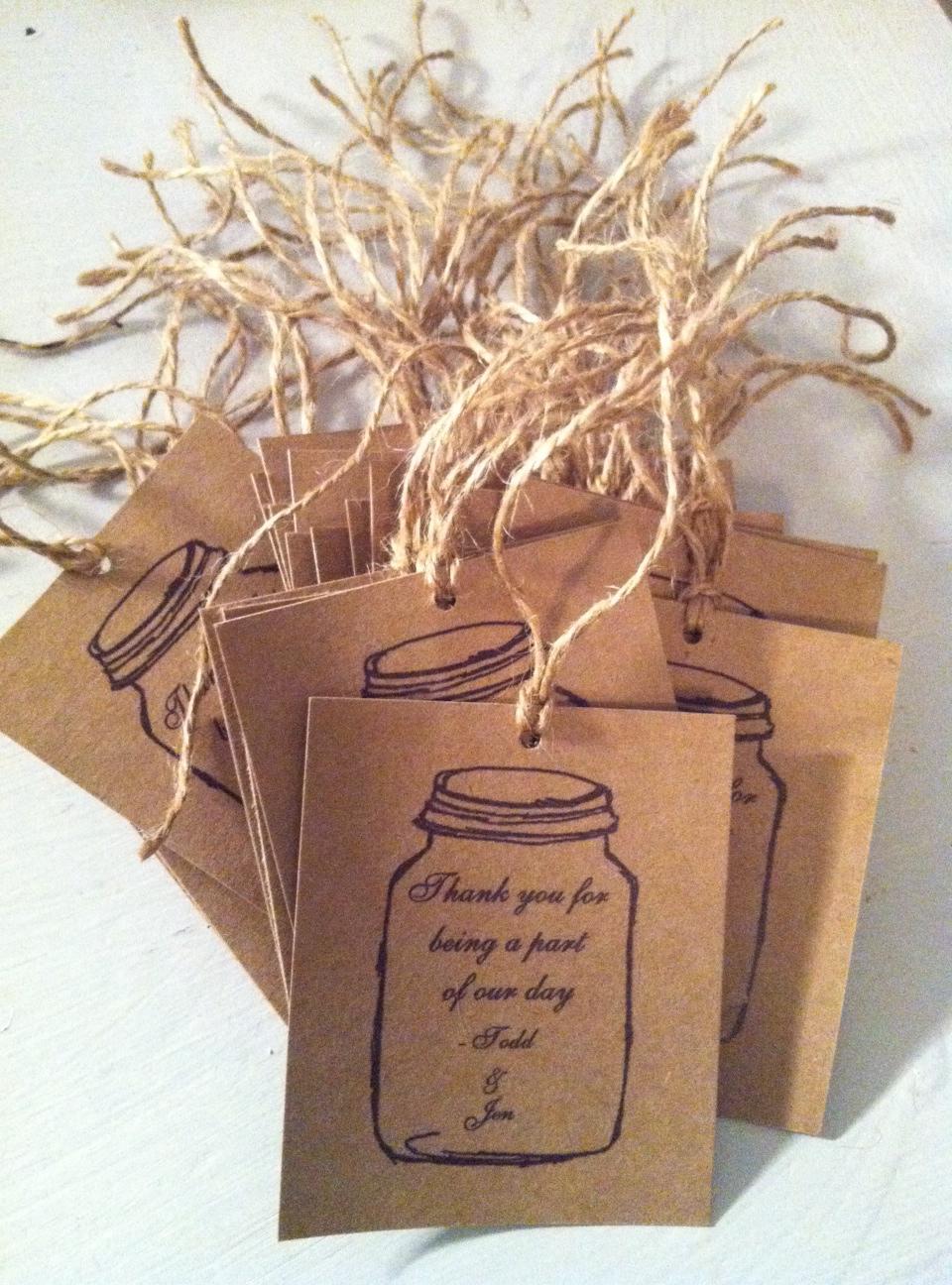 Rustic Mason Jar Favor tags