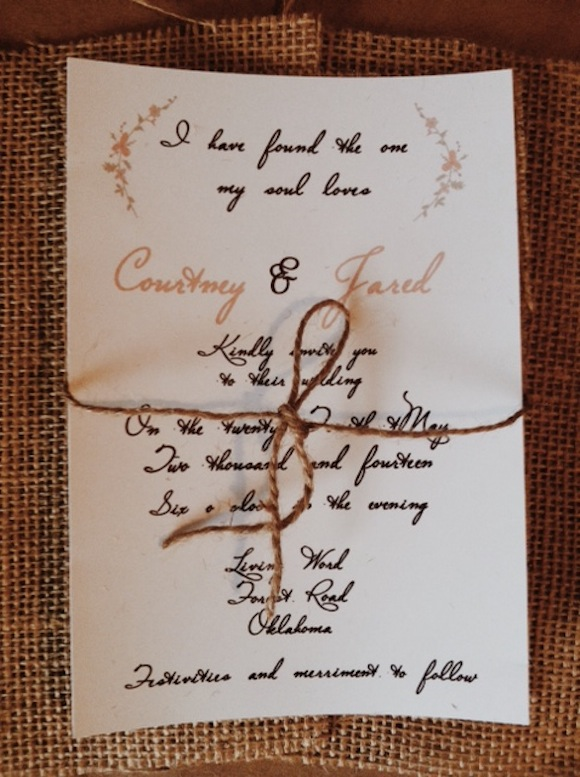 I have found the one my soul Loves wedding invitation with natural burlap