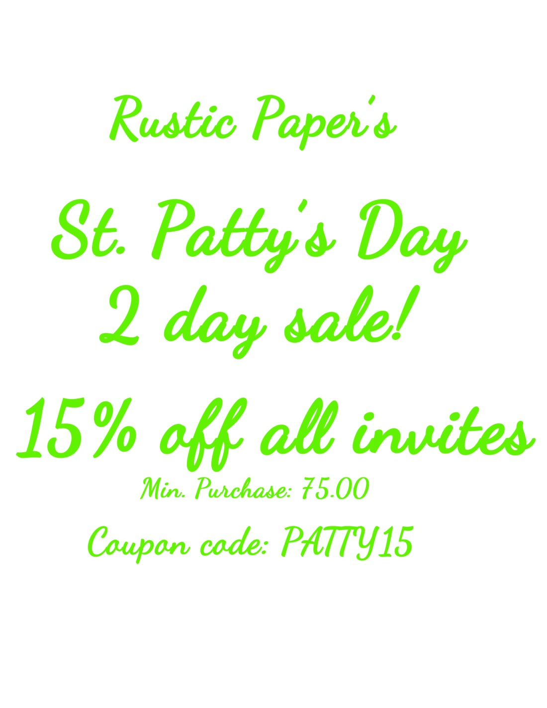 St. Patty's Day Sale