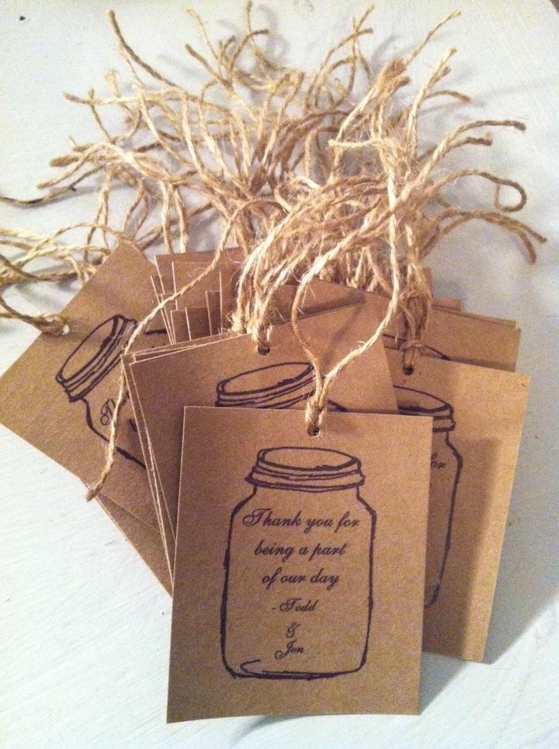 Mason Jar Wedding Favor Tags