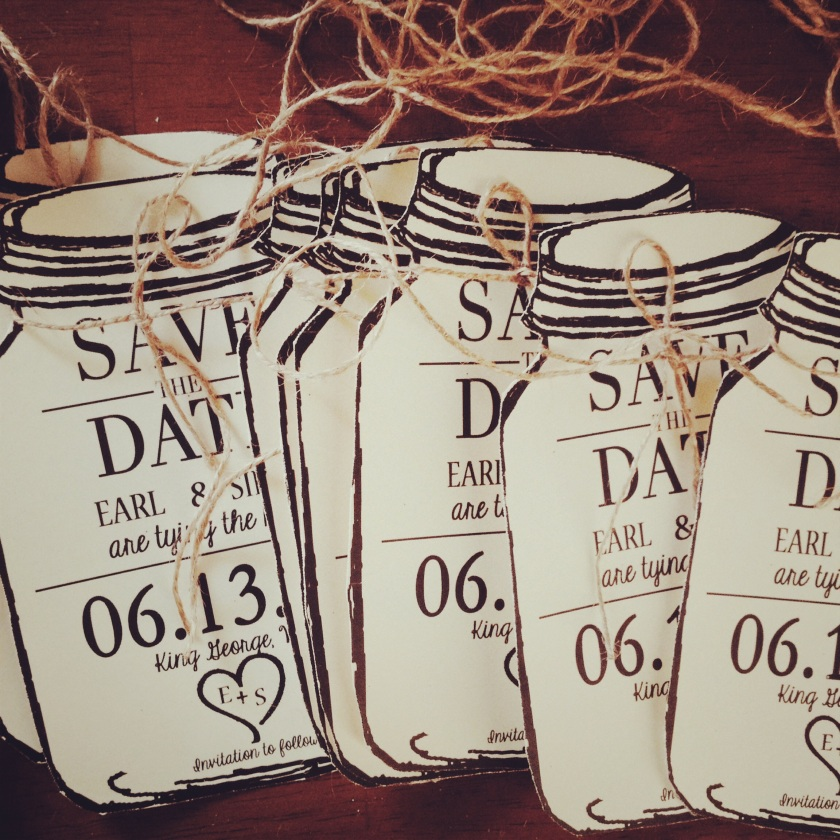 Save the Date Mason Jars in Ivory & Black with envelopes in kraft