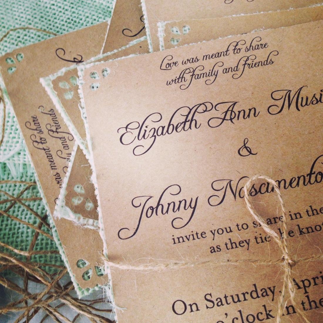 Mint Wedding Invitations Kraft on mint b