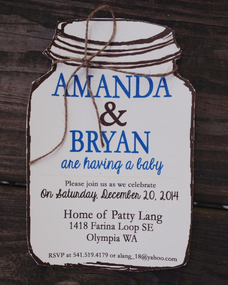 Mason Jar Baby Shower Invitations