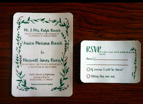 Floral green and gray wedding invitations with rounded corners