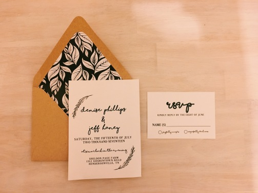 Green Floral Wedding Invitations, with mint layered envelope