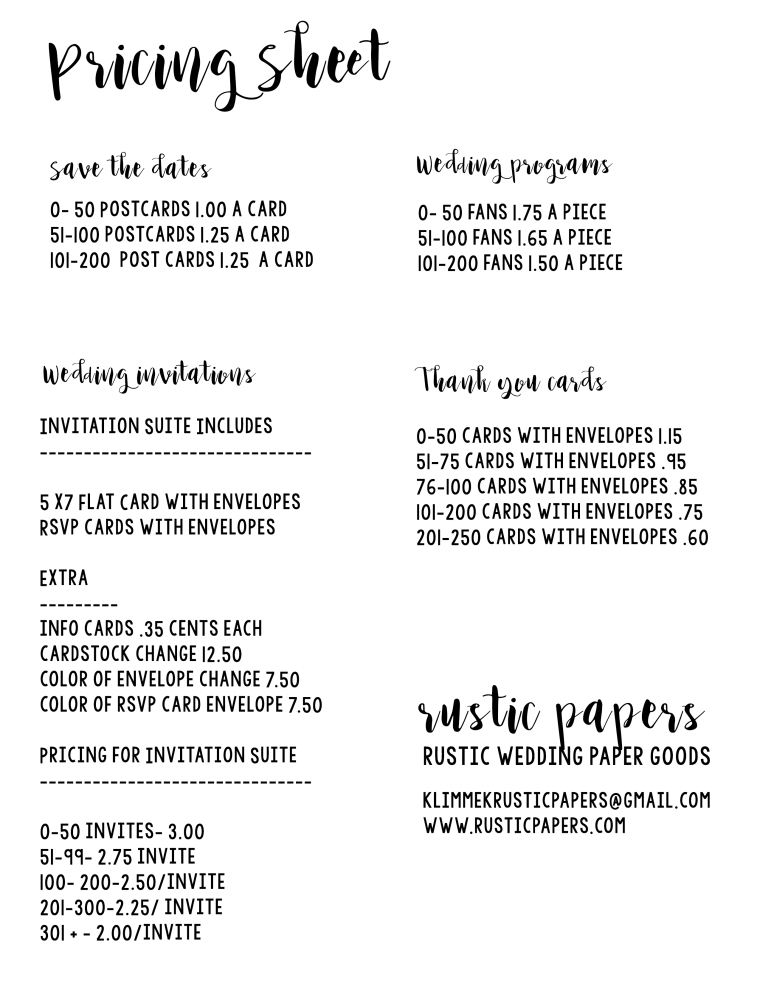 Pricing Sheet Rustic Wedding Paper good pricing